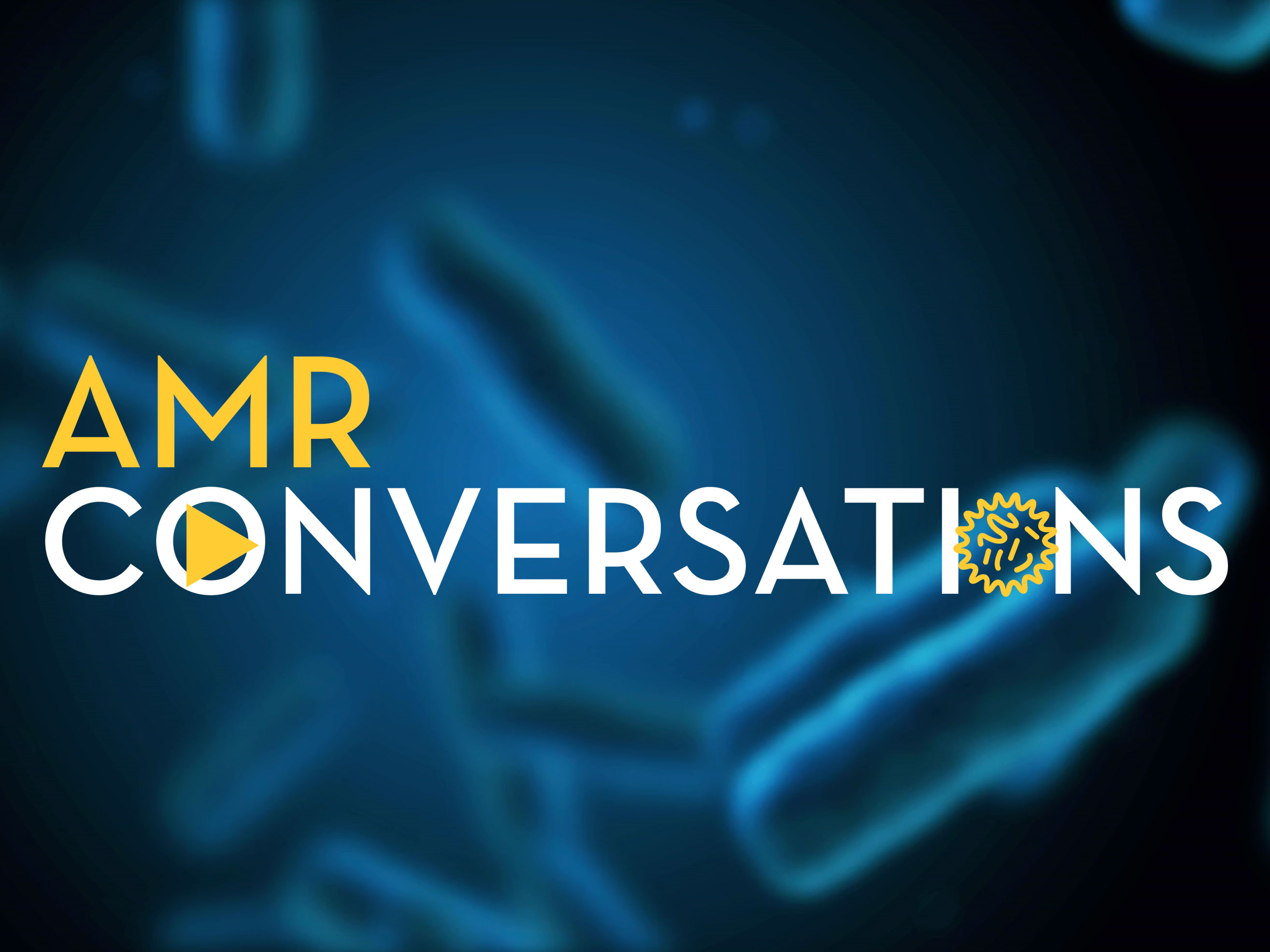 words AMR Conversations on a blue background with animated bacteria