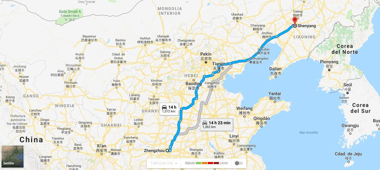 Map of China with distance from Zhengzhou slaughterhouse to Shenyang farm
